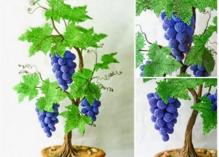 Виноградная лоза из бисера - мастер-класс