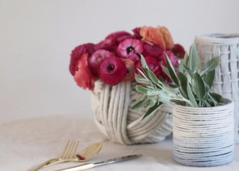 Стильные вазы из бельевой веревки