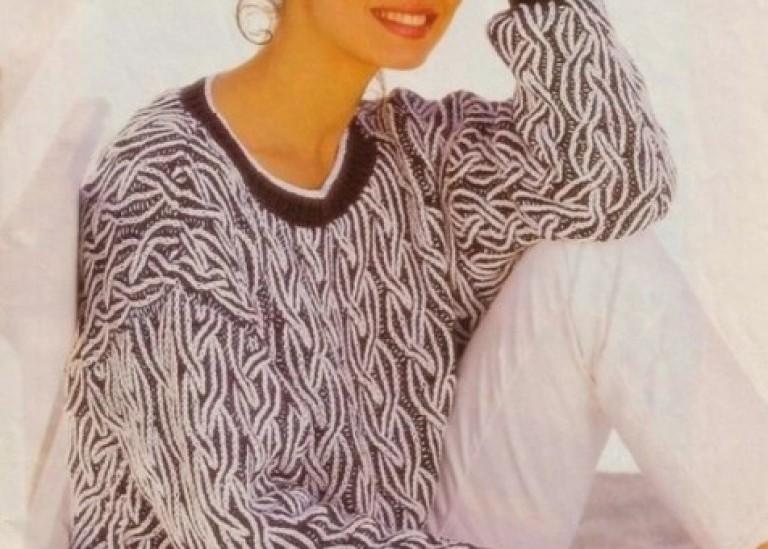 Модели пуловеров в технике «Бриошь», выполненных спицами