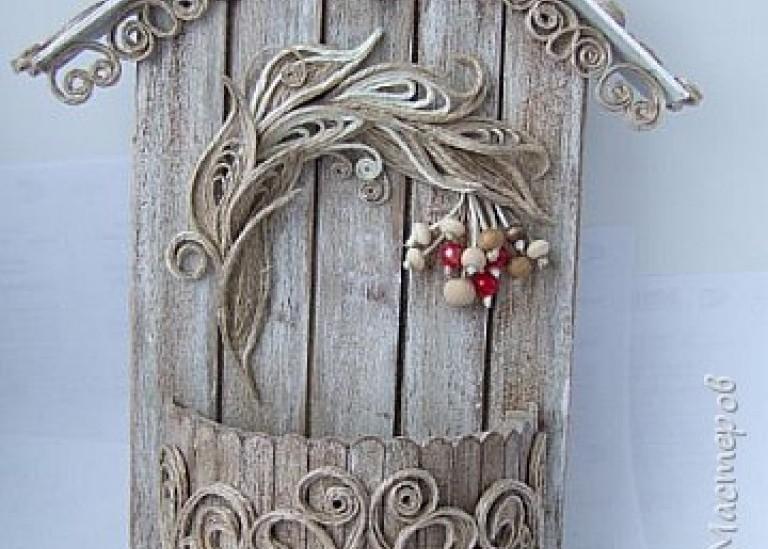 Картонно-деревянно-джутовая ключница «Рябинушка»