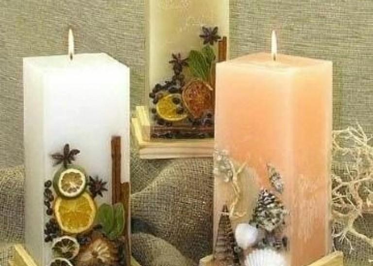 Свеча с сухоцветами своими руками