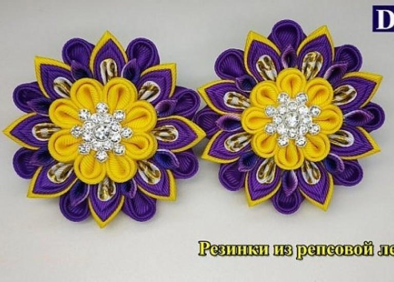 Цветы Канзаши из репсовых лент / Amazing ribbon flower DIY