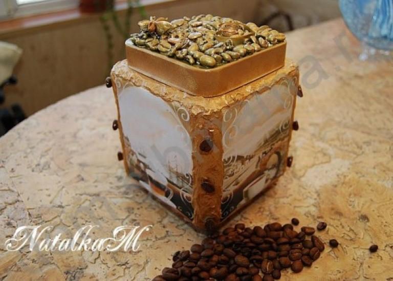 Декупаж кофейной баночки для любителей кофе. Мастер-класс