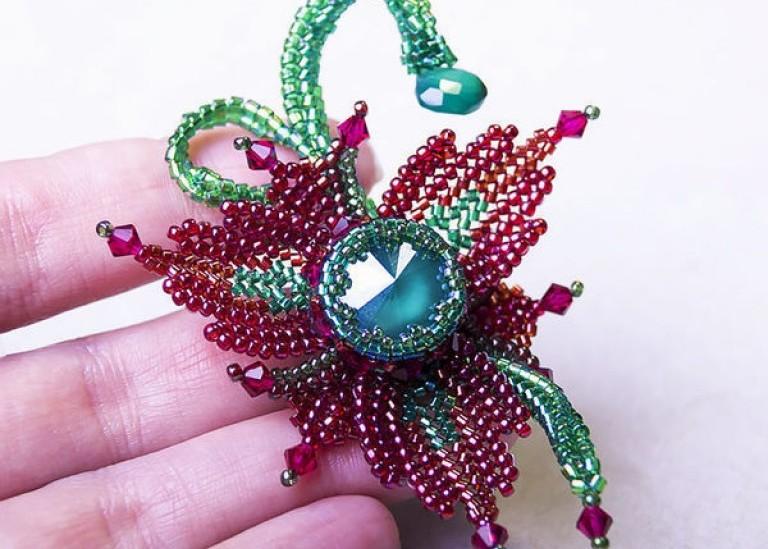 Процесс изготовления цветка-брошки «Фантазия» с кристаллом Swarovski