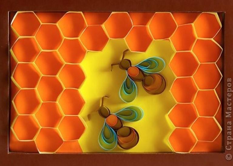 Пчелки на сотах (квиллинг для новичков)
