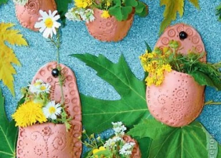 Вазочки-горшки для цветов из глины