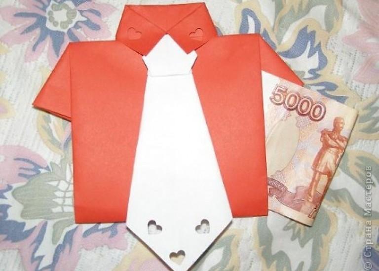 «Рубашка с галстуком» - поздравительная открытка-конверт