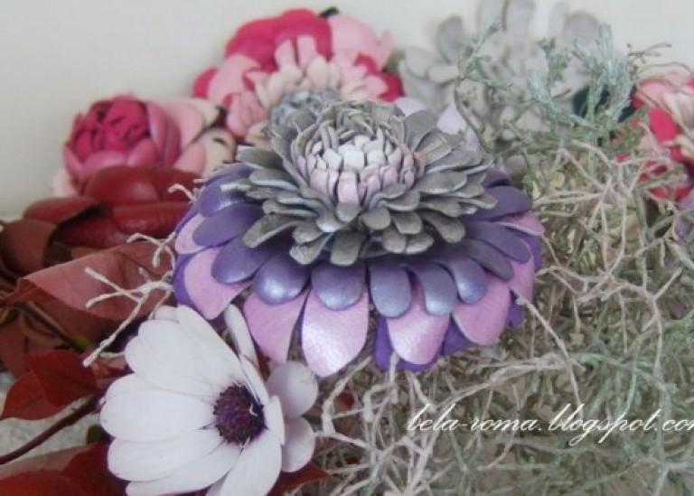 Хризантемы из кожи