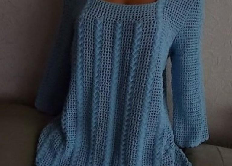Блуза-Туника крючком. Филейная сетка и рельефный узор