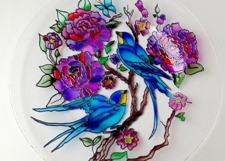 Витражная роспись тарелки
