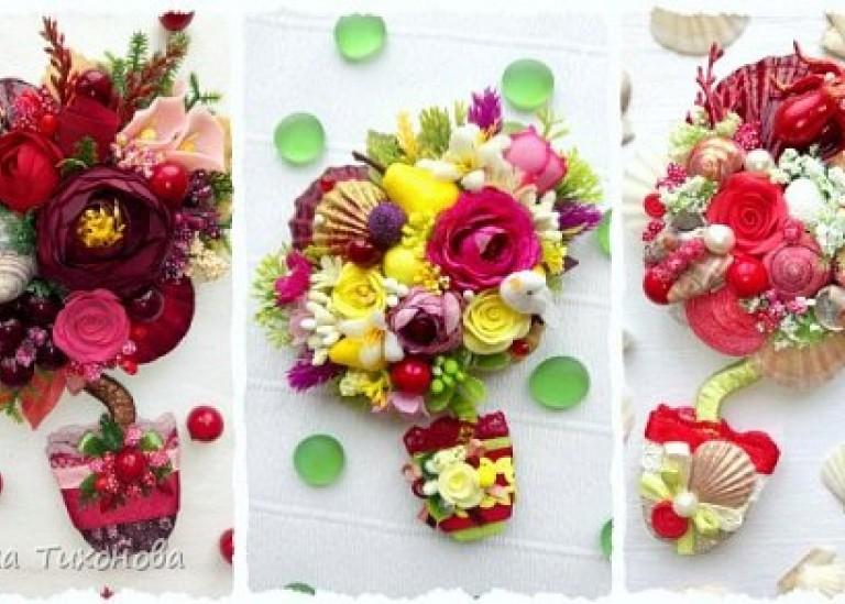 Оригинальные магнитики на холодильник с цветами и ракушками
