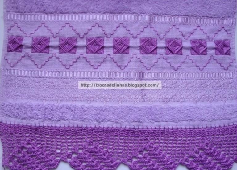 Обвязка края крючком и вышивка на полотенце