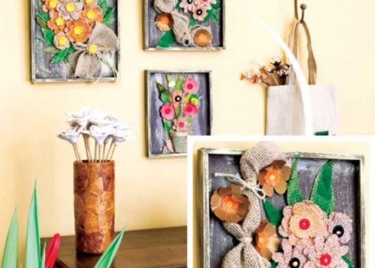 Картины с цветами из мешковины