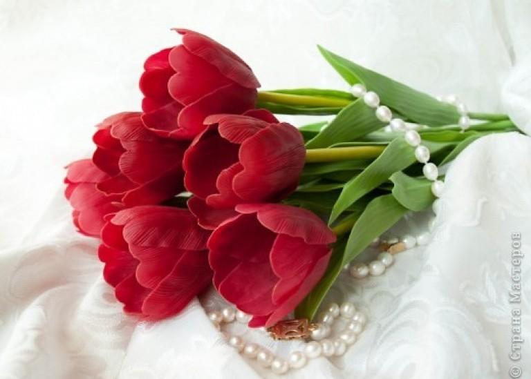 Лепка из холодного фарфора. Тюльпаны. Мастер-класс