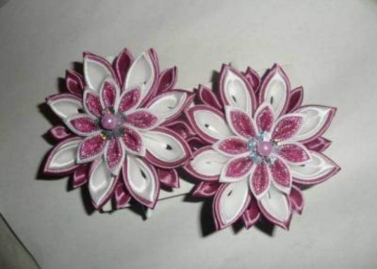 Сборка многослойных цветков канзаши