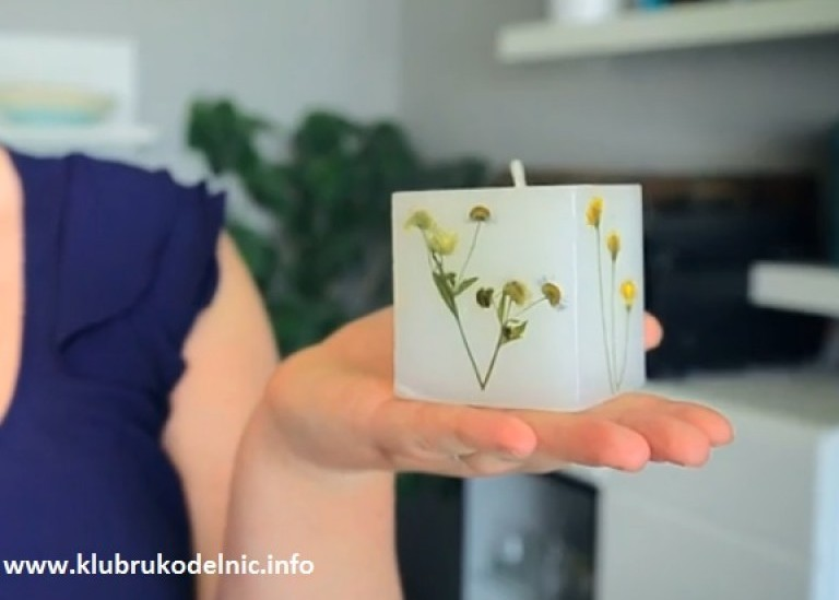 Как украсить свечи сушеными растениями