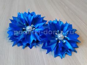 Цветочки «Васильки» в технике канзаши
